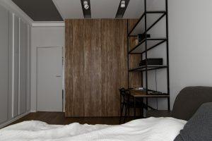 pokój z pojemną szafą na ubrania, łóżkiem i biurkiem z pułkami
