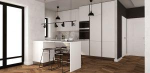 obszerna kuchnia w kontrastującej biało-czarnej kolorystyce i parkietem z drewna