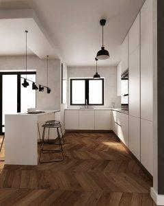 wizualizacja dużej kuchni, z prostymi meblami, o białej kolorystyce