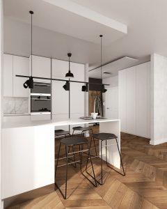 wizualizacja kuchni w białej kolorystyce, z wiszącym oświetleniem nad stołem